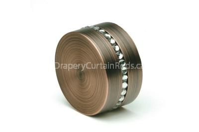 Dark copper curtain rod end caps with crystals