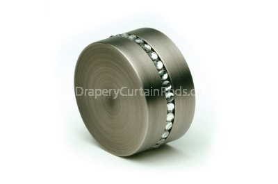 Pewter curtain rod end caps with crystals