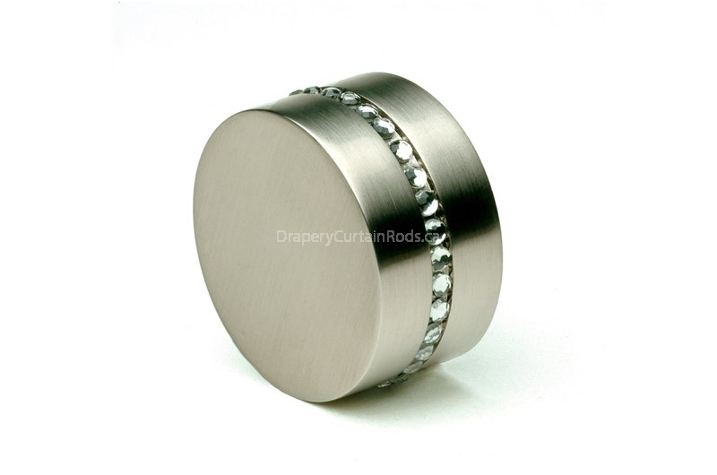 Nickle brushed curtain rod end caps with crystals
