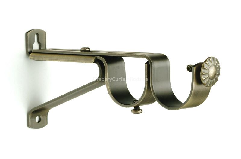 Antique Brass Double Curtain Rod Brackets - UDBK-AB