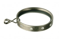 Pewter flat curtain rod rings with crystals
