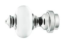 acrylic finials with a mirror chrome finish