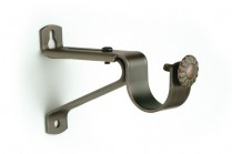 Dark copper single curtain rod brackets