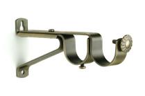 Antique brass double curtain rod brackets
