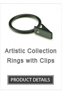 Iron Curtain Rod Rings with Clips Artistic Collection